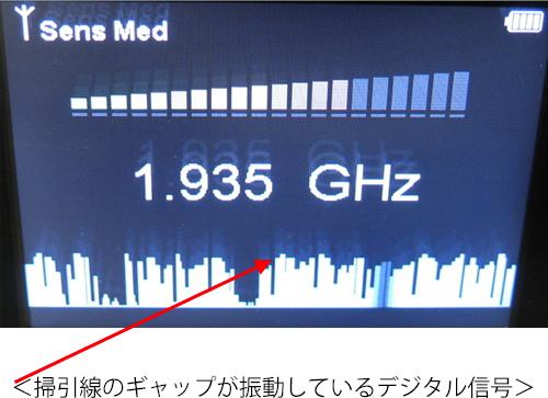 掃引線のギャップが振動しているデジタル信号